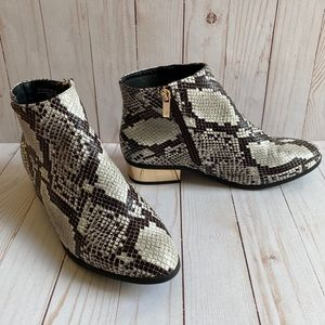 Bamboo Snakeskin Ankle Booties